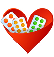 Pills in a pocket in the shape of heart vector image vector image
