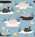 seamless childish pattern with swan princess on vector image