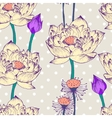 Seamless pattern with lotus flower and dots vector image vector image