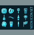 set cuba blue glowing neon icons vector image vector image