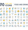 Set Flat Line Icons Drinks and Food