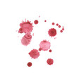 set of red hand made blots and ink splashes vector image