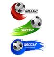 soccer ball banner for football sport game design vector image vector image