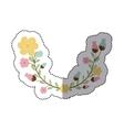 sticker decorative half arch with flowerbud vector image vector image