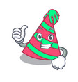 thumbs up party hat character cartoon vector image