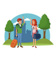 traveler couple city tree landscape vacation vector image