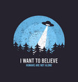 ufo and space design for t-shirt with spaceship vector image