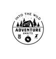 vintage camp logo mountain badge hand drawn vector image vector image