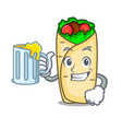 with juice burrito mascot cartoon style vector image vector image