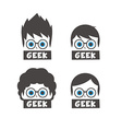 young geek cartoon vector image