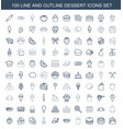 100 dessert icons vector image vector image