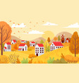 autumn village landscape countryside autumnal vector image vector image