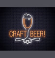 beer glass neon sign craft beer neon logo on wall vector image vector image