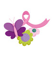 breast cancer awareness purple butterfly ribbon vector image vector image