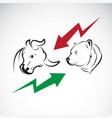 bull and bear symbols of stock market trends vector image