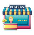 burgers shop icon cartoon style vector image vector image