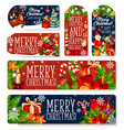 christmas decorations greeting tags vector image vector image