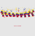 colombia garland flag with confetti vector image vector image