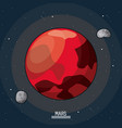 colorful poster of the planet mars in the space vector image vector image