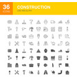 construction line web glyph icons vector image
