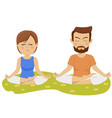 couple making yoga exercises outdoors vector image vector image