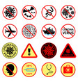 covid-19 attention signs set coronavirus icons vector image
