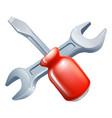 crossed screwdriver and spanner tools vector image vector image