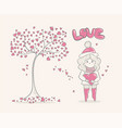 cute cartoon girl and tree with hearts character vector image