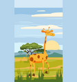cute giraffe cartoon on background landscape vector image vector image