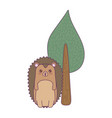 cute porcupine animal with tree plant vector image vector image