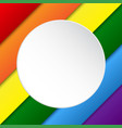 diagonal lgbt rainbow flag white circle vector image vector image