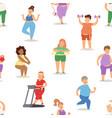 fat people doing exercise training gym gymnasium vector image