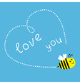Flying bee Dash heart in the sky Card vector image vector image