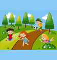 four kids playing in the park vector image