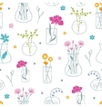 Fresh flowers in vases seamless pattern background vector image