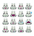 funny cartoon little white alien sitting monster vector image