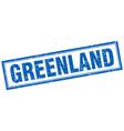 Greenland blue square grunge stamp on white