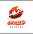 grilled sausage logo design barbecue vector image vector image