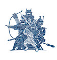 group samurai warrior with weapons action vector image