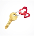 House keys with Red heart Key chain vector image vector image