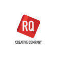 initial letter rq logo template design vector image vector image