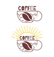logo coffee cup a cup coffee and sun rises vector image vector image