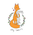 lovely cartoon fox and hare happy animals vector image vector image