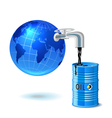 Metal barrel with oil faucet and globe vector image vector image