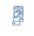 mobile touchscreen line icon concept mobile vector image vector image