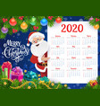 new year calendar with christmas gifts and santa vector image vector image