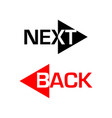 next and back icons vector image vector image
