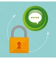padlock chat hand icon vector image