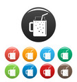 peach smoothie icons set color vector image