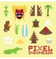 Pixel art Indonesia isolated objects vector image